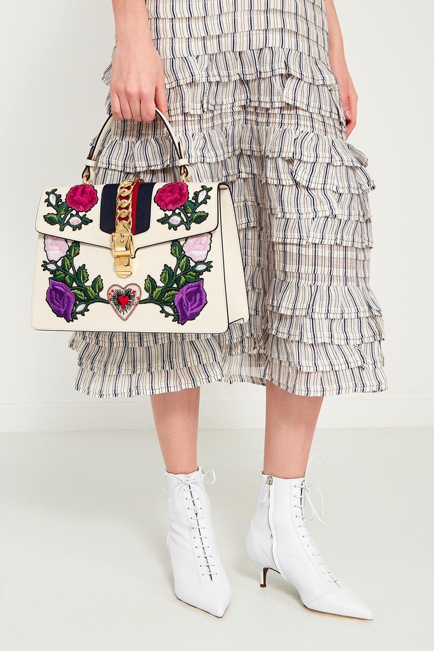 Gucci Кожаная сумка с цветами Sylvie