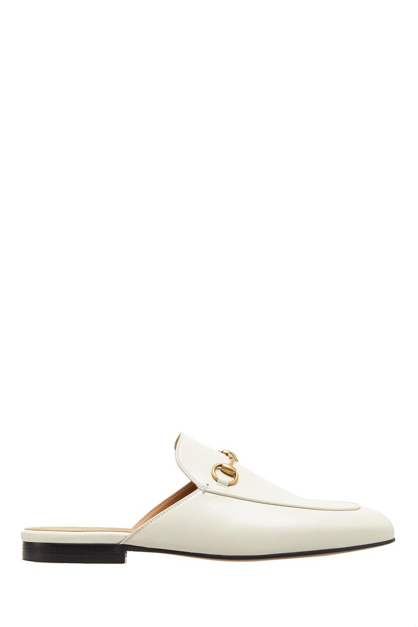 Белые кожаные слиперы Princetown от Gucci