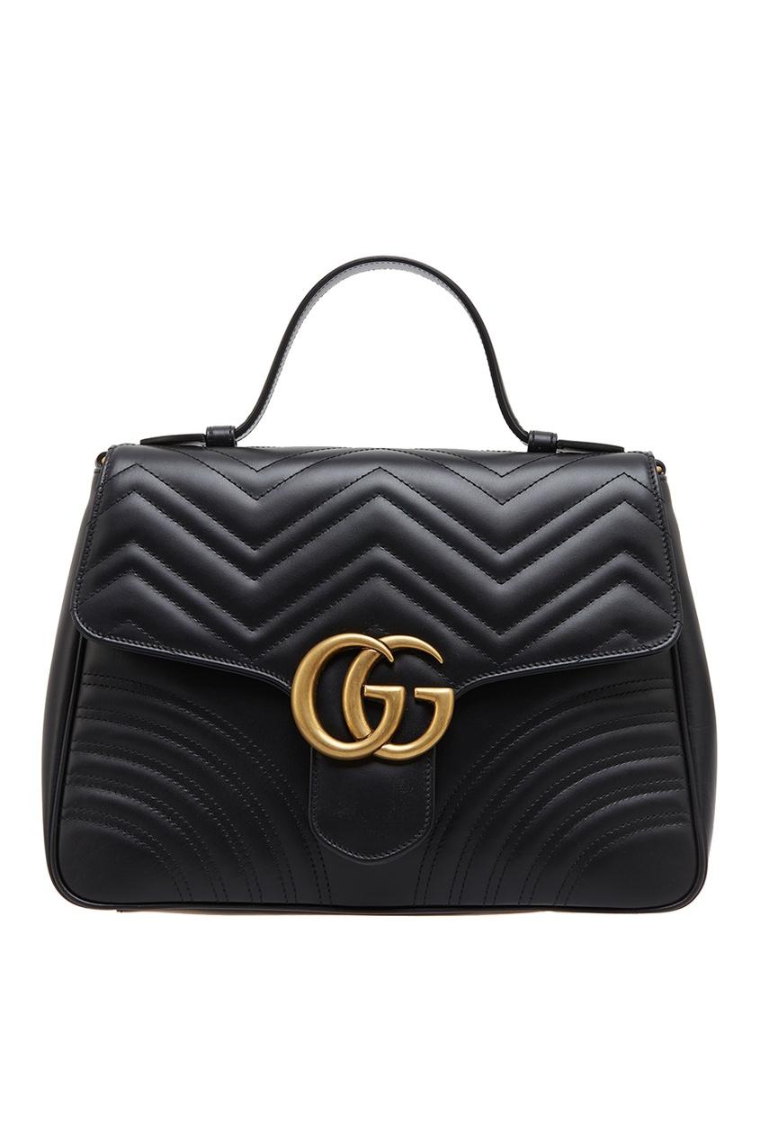 Купить Черная кожаная сумка GG Marmont от Gucci черного цвета