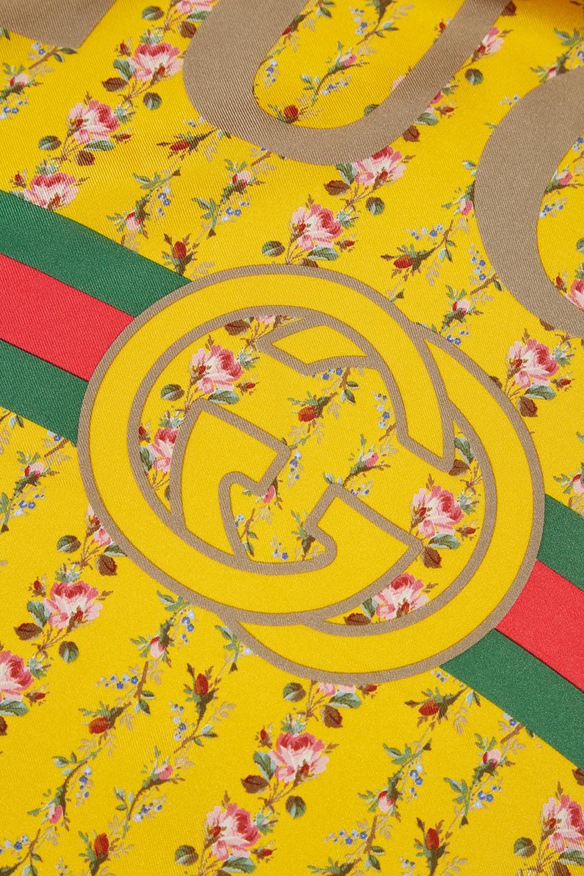 Желтый шелковый платок с цветами
