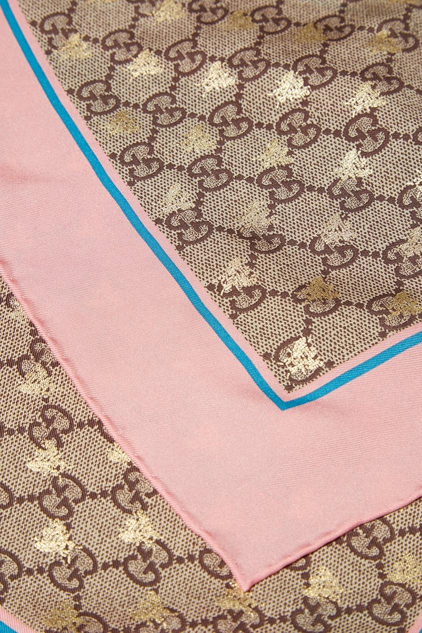 Gucci Платок GG Bees с розовой полосой