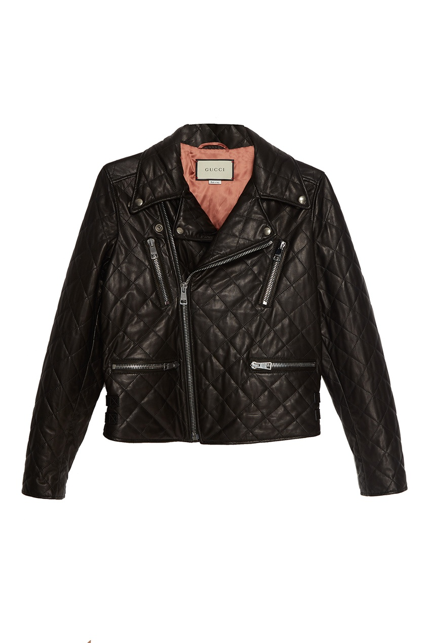 Стеганая куртка из кожи Gucci