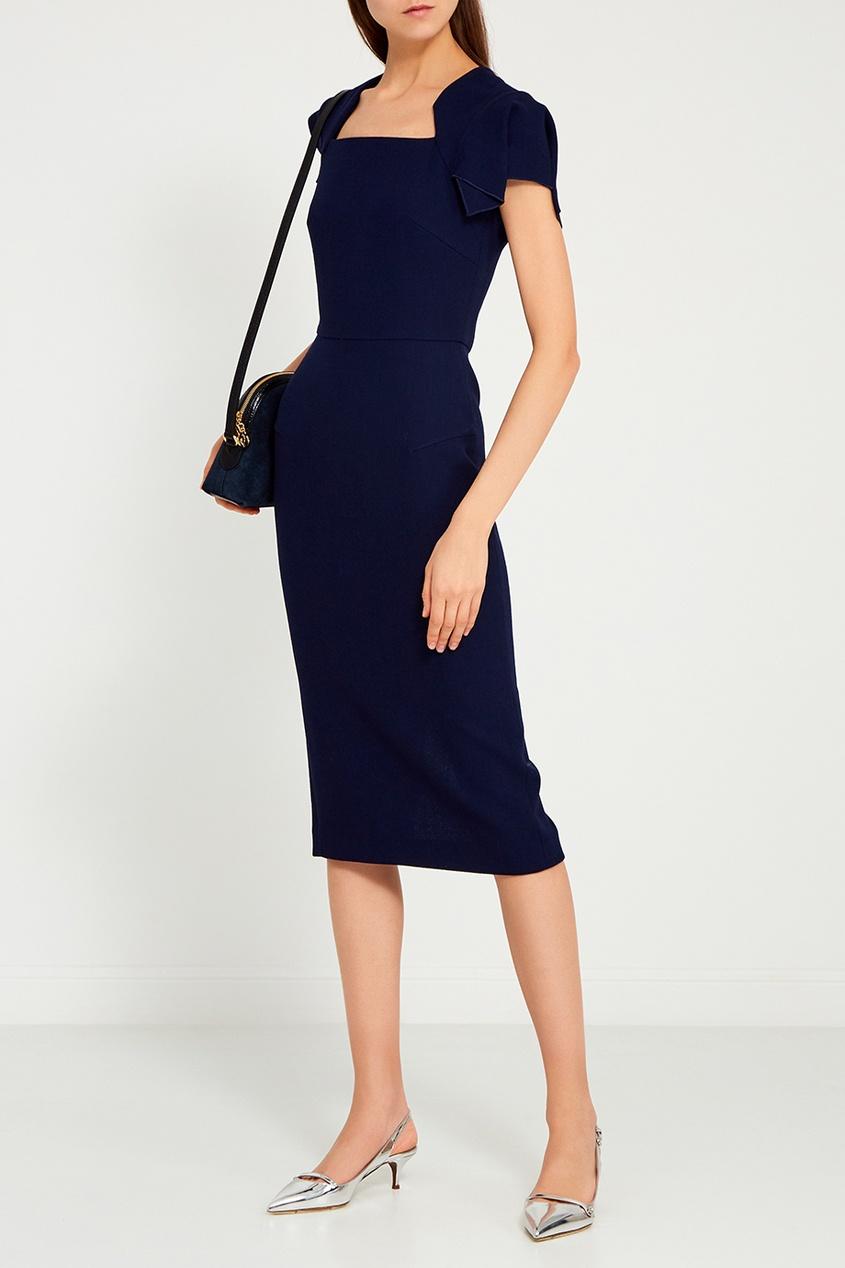 Синее шерстяное платье