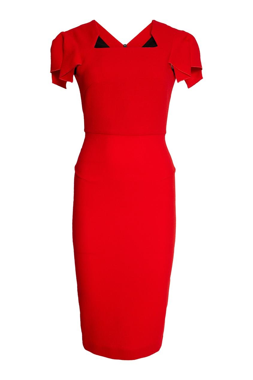 Roland Mouret Красное шерстяное платье roland m cube gxr