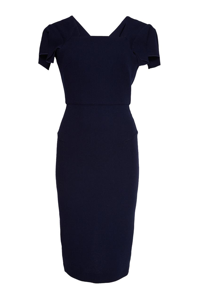 Roland Mouret Синее шерстяное платье roland m cube gxr