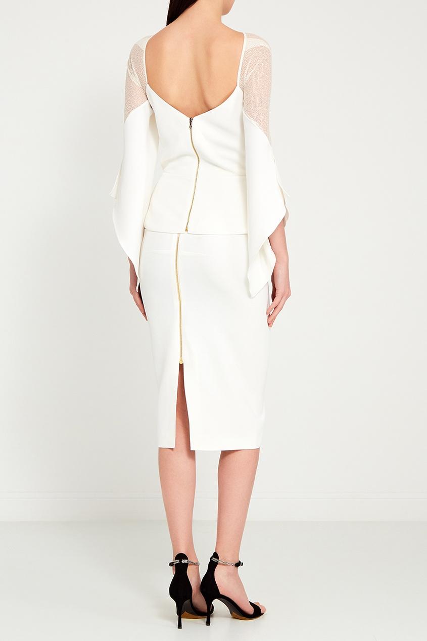 Roland Mouret Белая блузка с прозрачными деталями