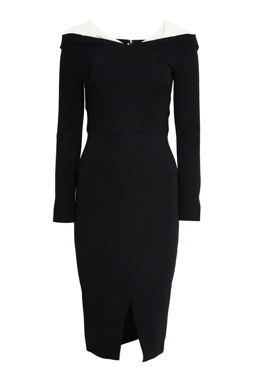 Черное платье-футляр с прозрачными деталями