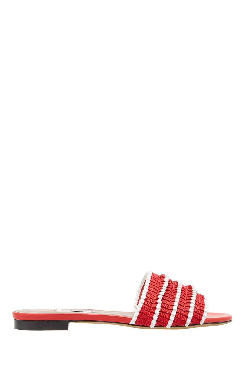 Красные сандалии с плиссированной отделкой от Tabitha Simmons