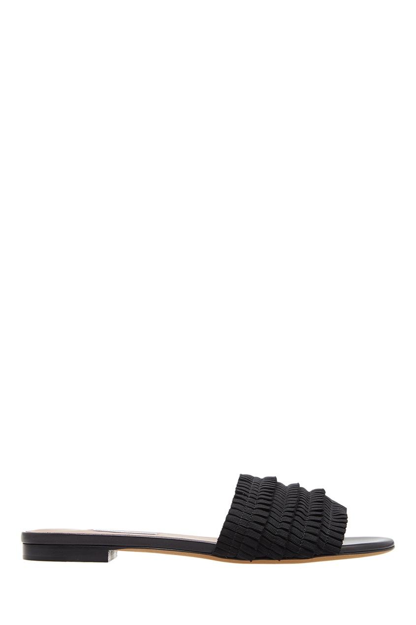 Черные сандалии с плиссированной отделкой от Tabitha Simmons