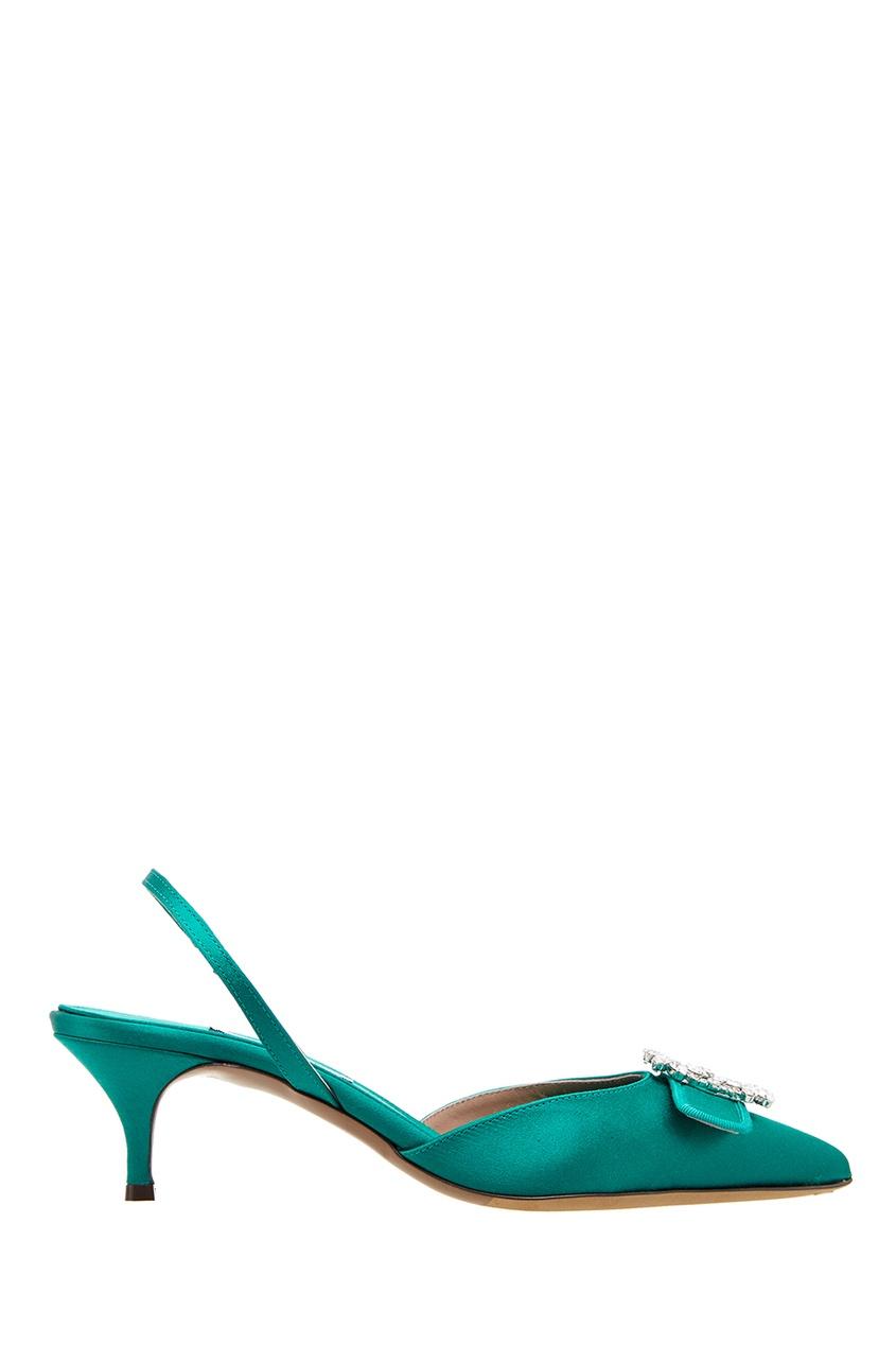 Купить со скидкой Зеленые сатиновые туфли с пряжкой