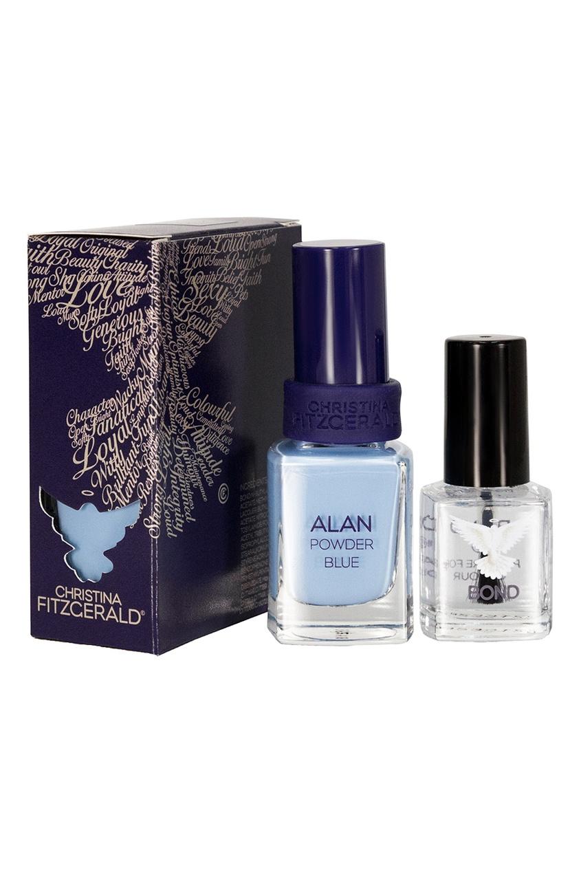 Christina Fitzgerald Лак для ногтей Alan / Голубая пудра + Bond-подготовка, 9 ml