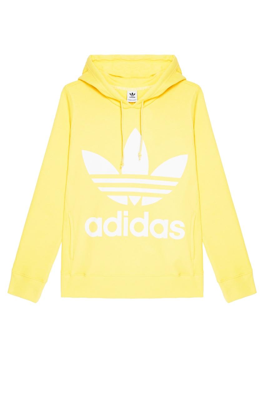Adidas Желтое худи с логотипом худи