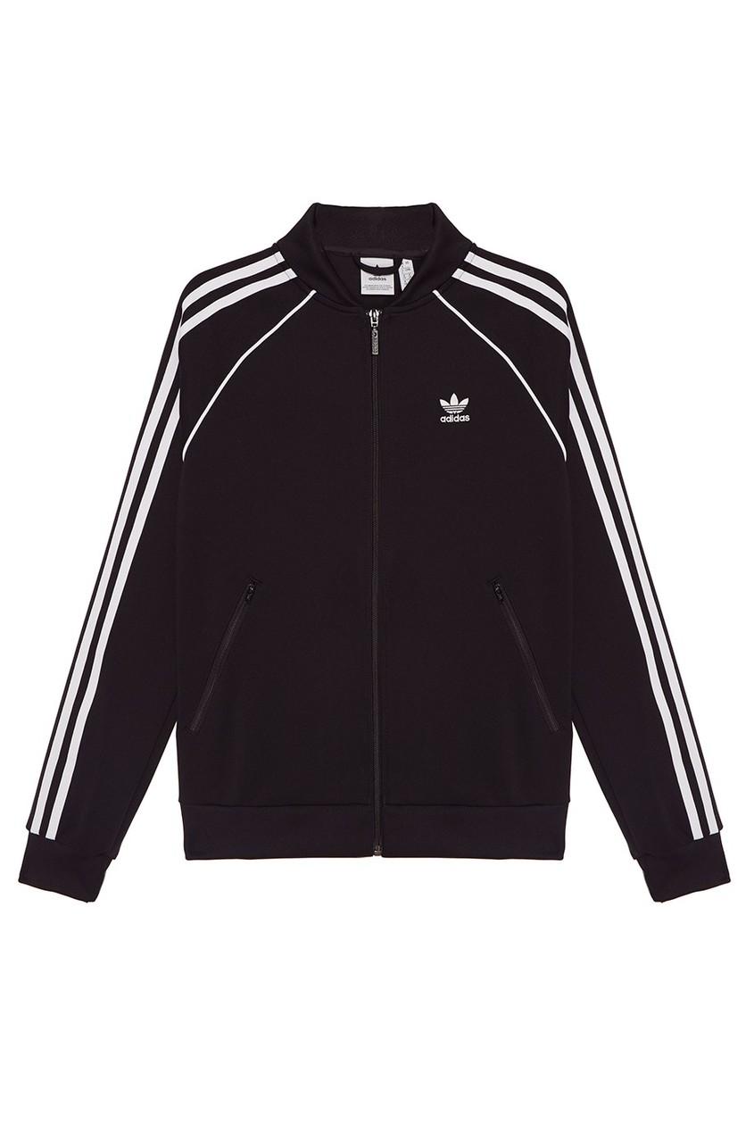 Adidas Черная олимпийка с полосками на рукавах