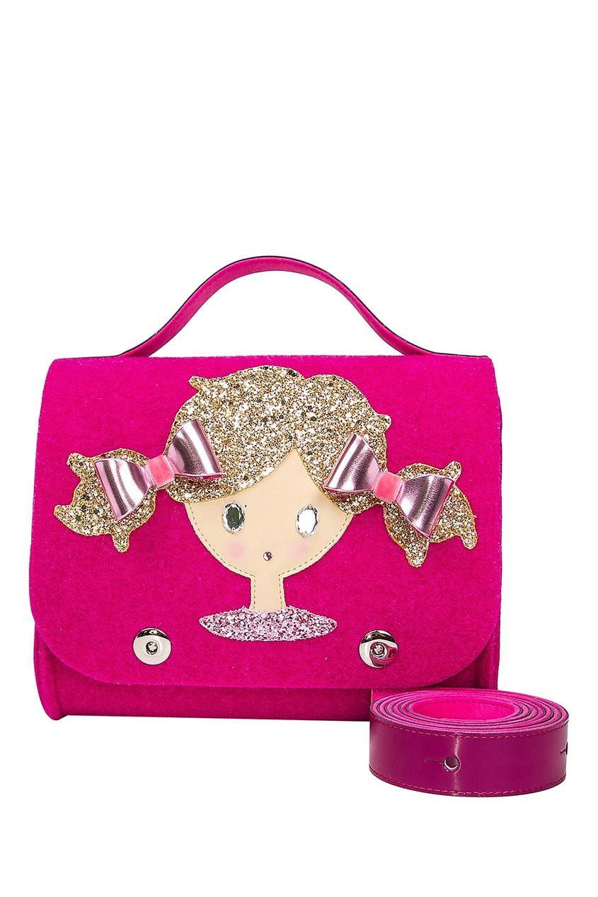 Розовая сумка с аппликацией