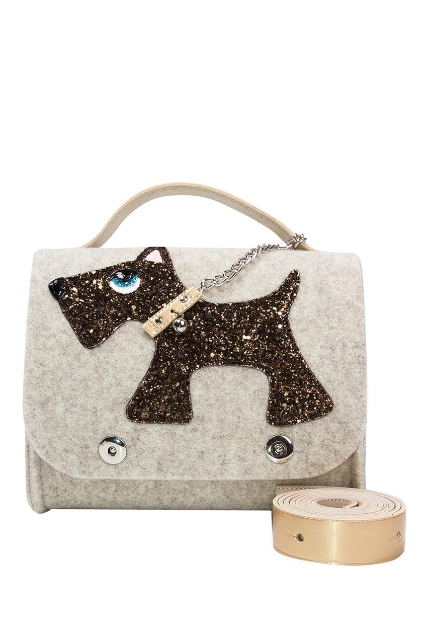 Бежевая сумка с собачкой