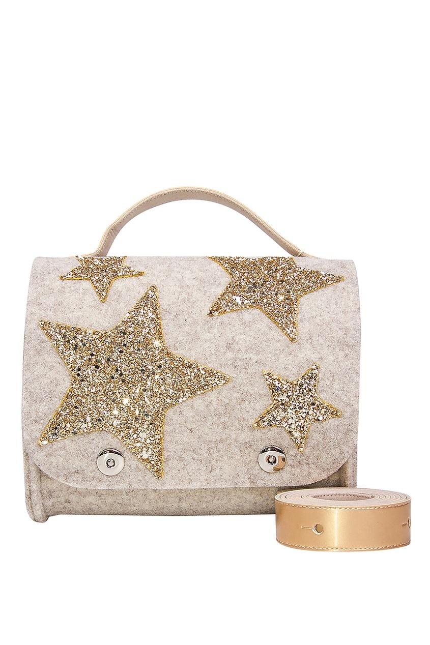 Бежевая сумка со звездами