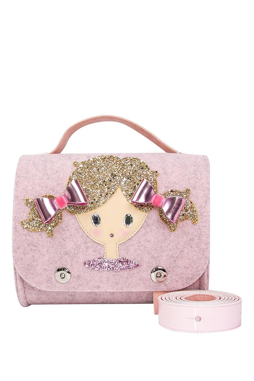 Светло-розовая сумка с аппликацией