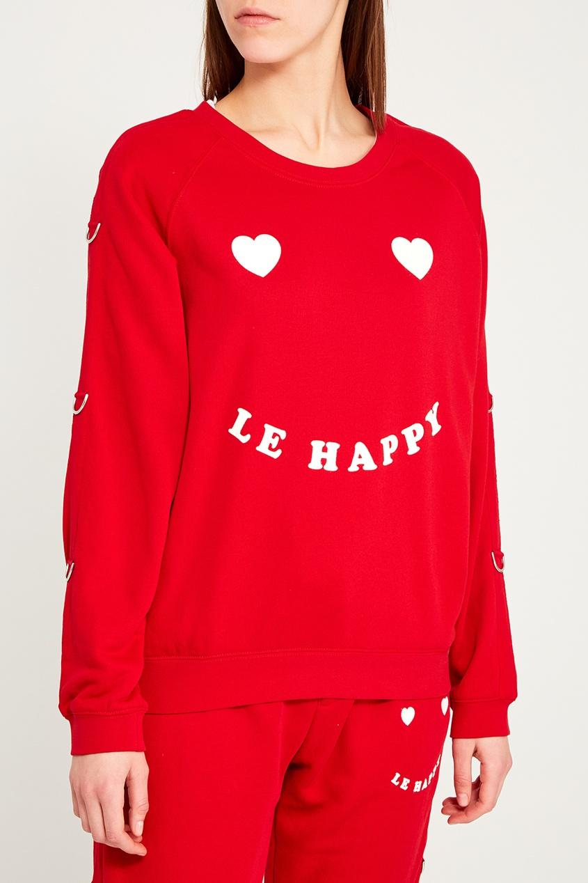 Zoe Karssen Красный хлопковый свитшот с принтом