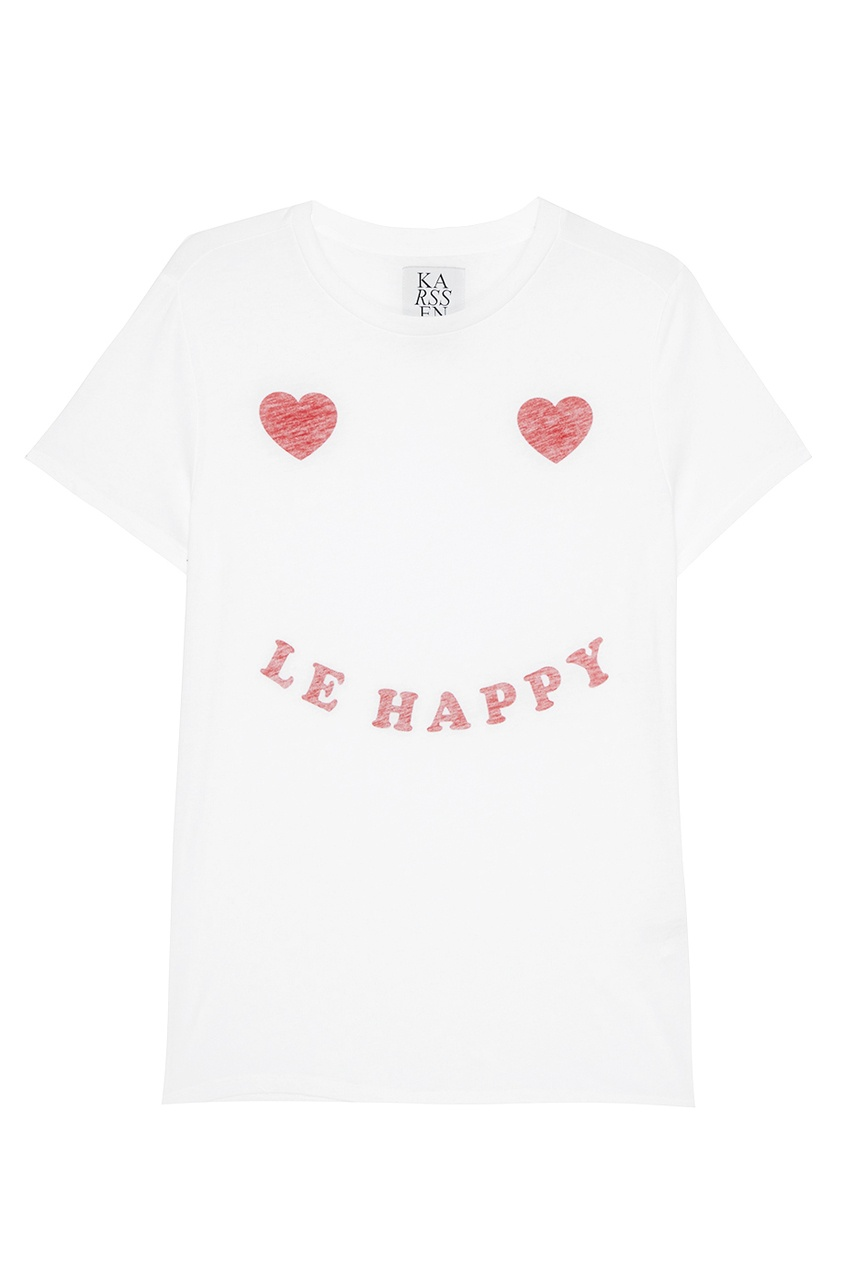Белая футболка с контрастным декором