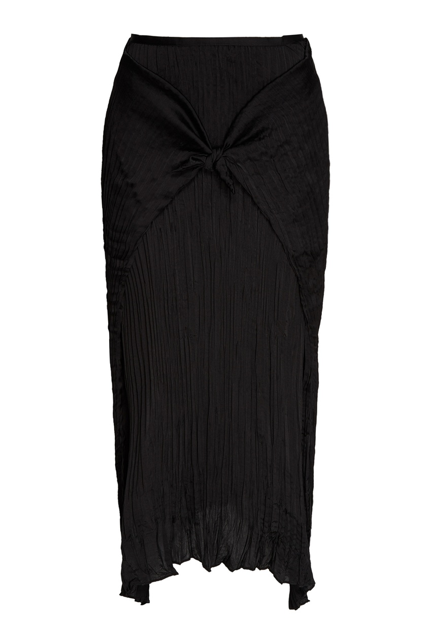 Черная плиссированная юбка с узлом