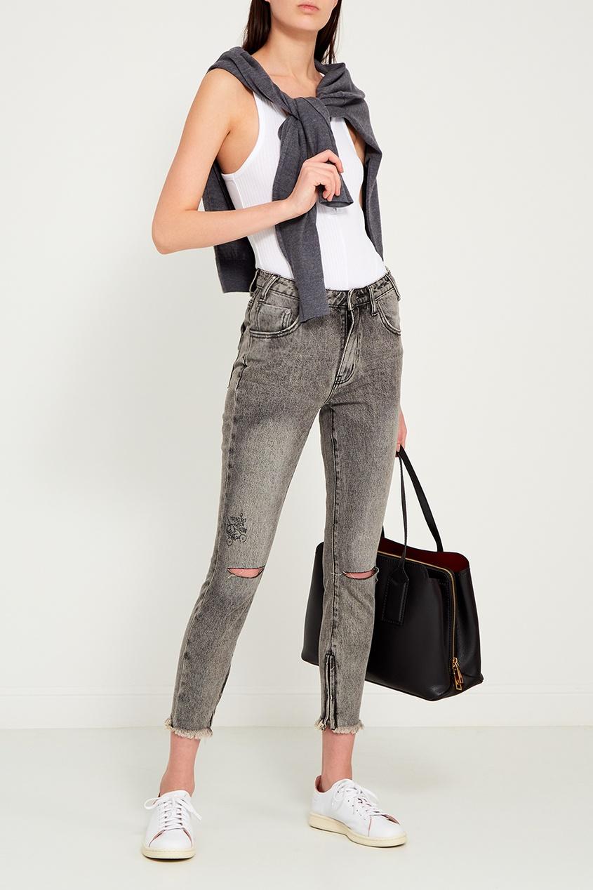 One Teaspoon Серые джинсы с разрезами на коленях