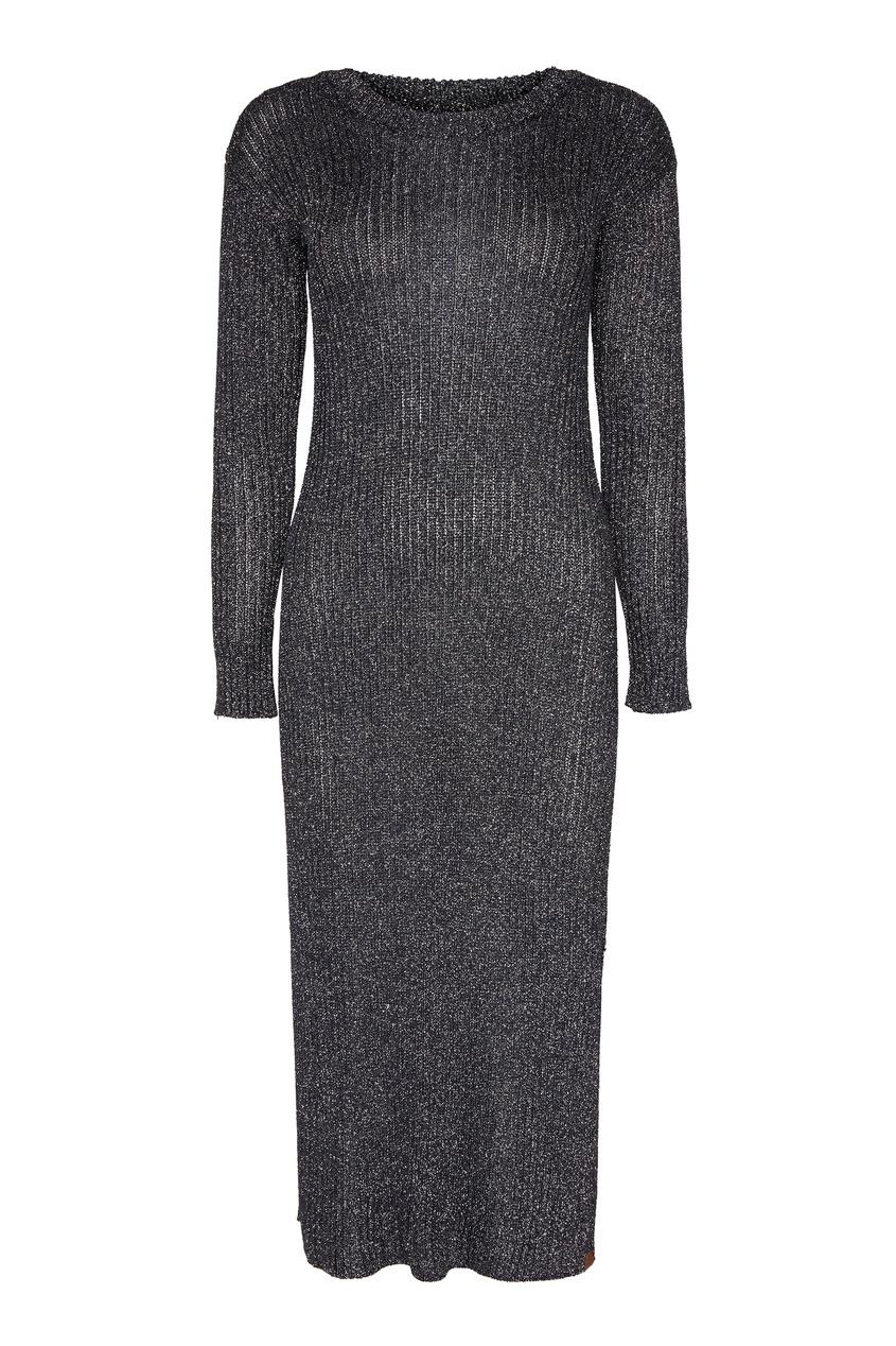 Темно-серое платье с люрексом
