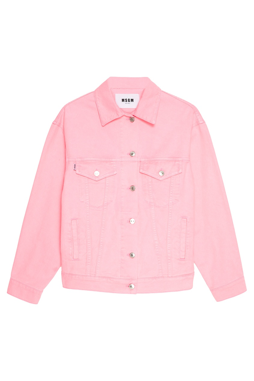 MSGM Розовая джинсовая куртка msgm розовая хлопковая футболка