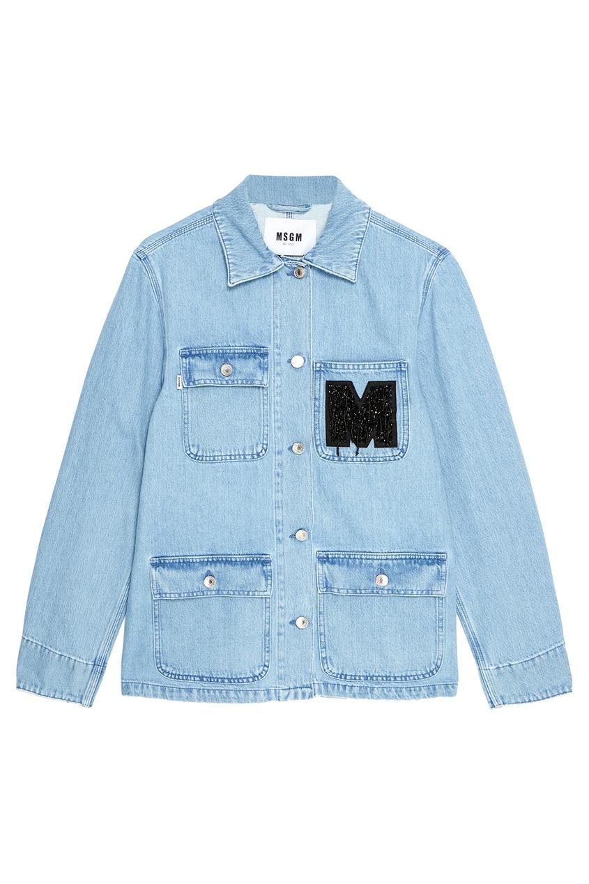 MSGM Джинсовая куртка с нашивкой джинсовая куртка brums ут 00000971