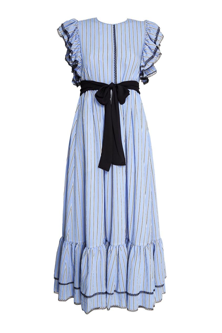 MSGM Длинное платье с воланами msgm топ с крупными воланами