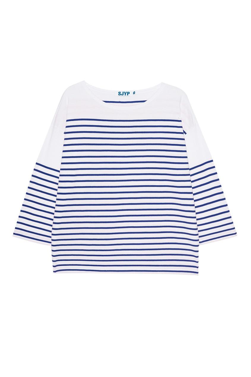 SJYP Лонгслив в синюю полоску платье barkito солнечный берег 2 белое в синюю полоску и с синей отделкой