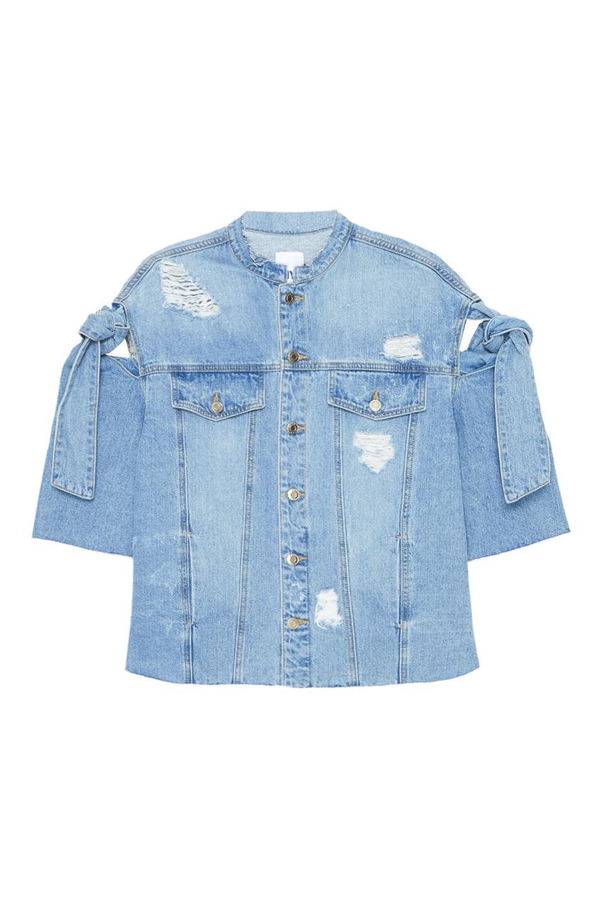 SJYP Джинсовая куртка с завязками на рукавах куртка голубого цвета brums ут 00008775