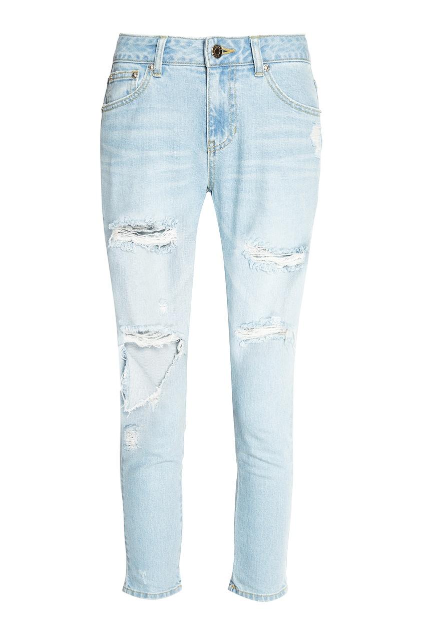 SJYP Узкие голубые джинсы с потертостями full circle джинсы с потертостями