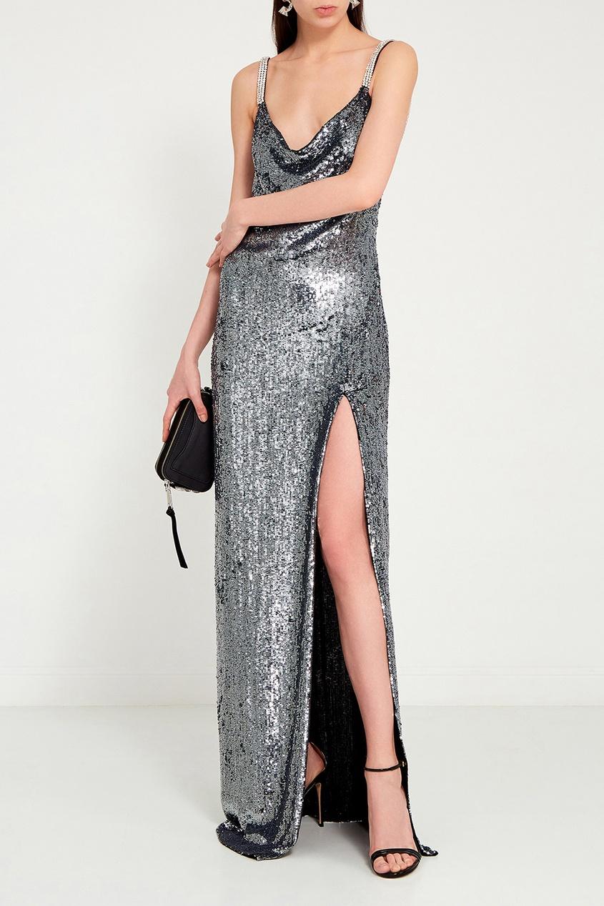 Шелковое платье в пайетках