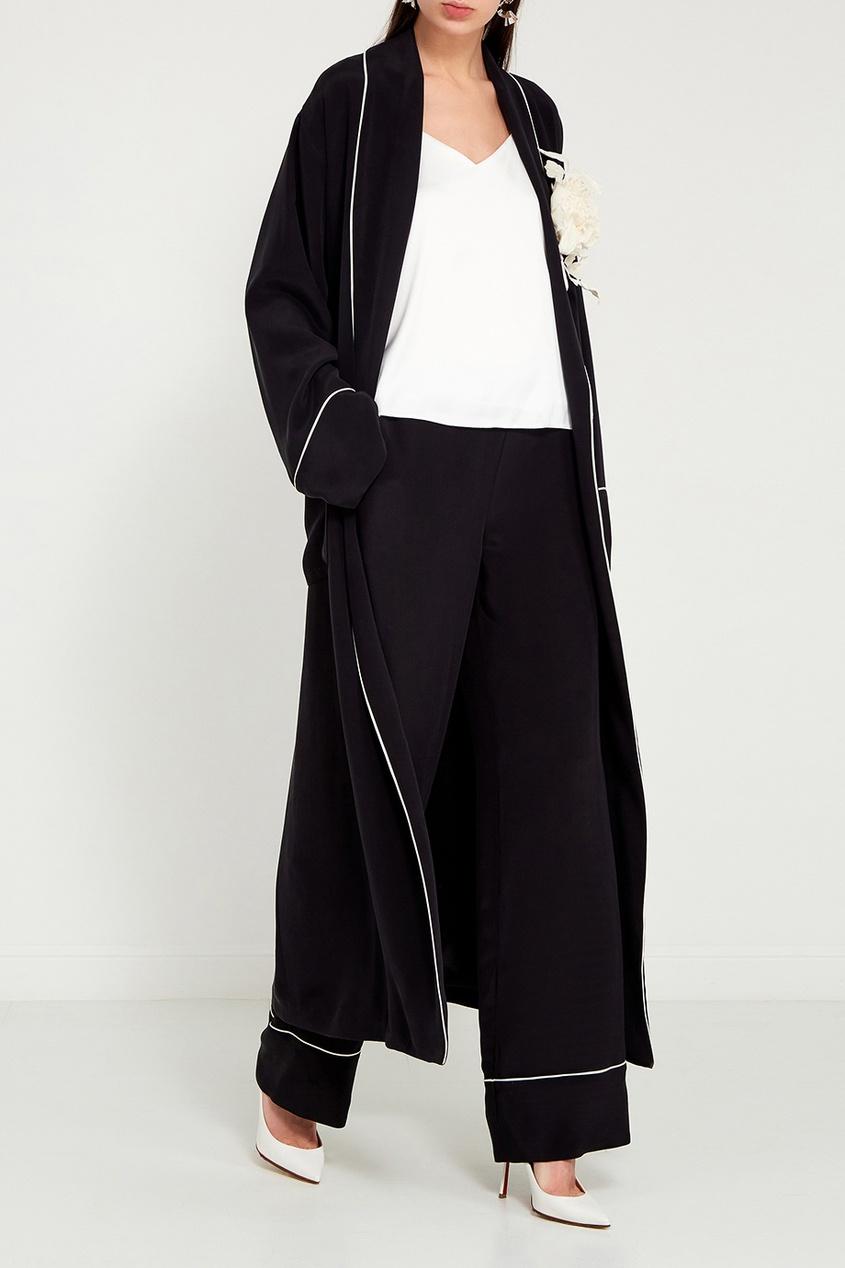 Maison Bohemique Черный шелковый халат купить шелковый халат мужской спб