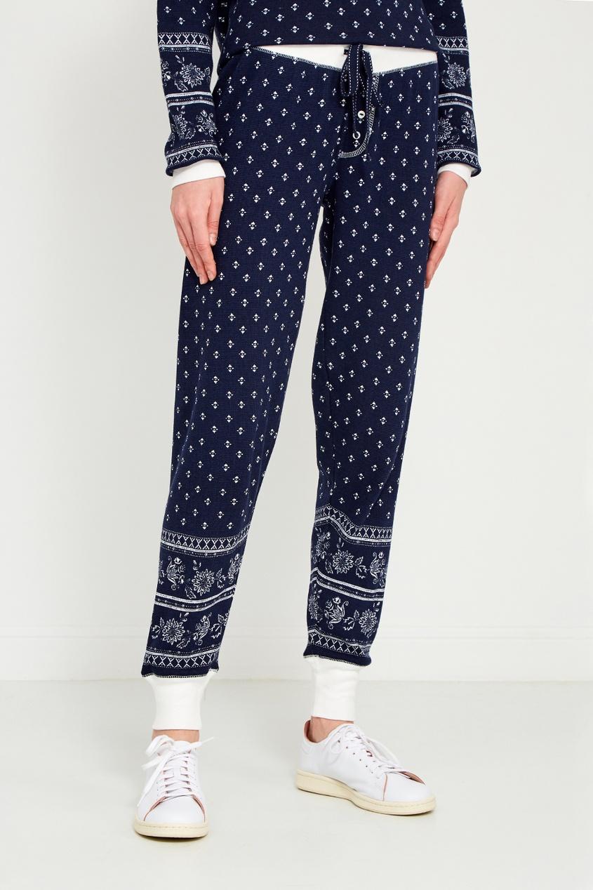 Синие хлопковые брюки с принтом