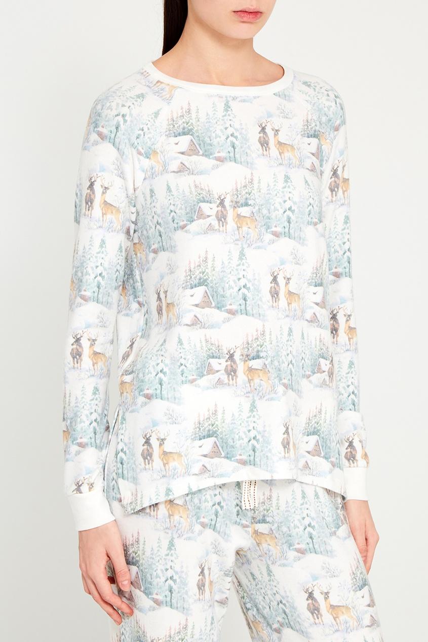 Пижамный лонгслив с оленями