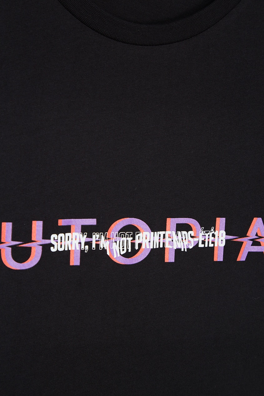 Черная хлопковая футболка с надписью