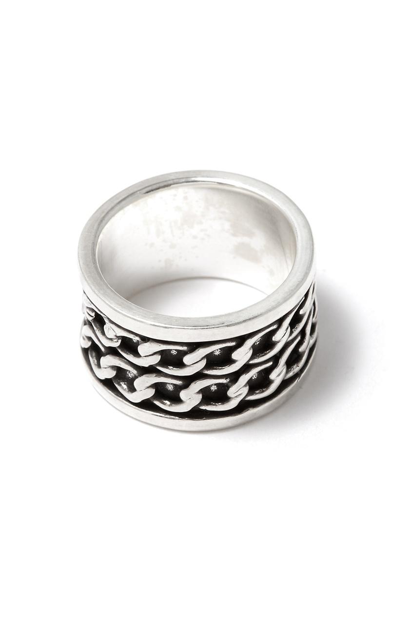 Серебристое кольцо с цепями