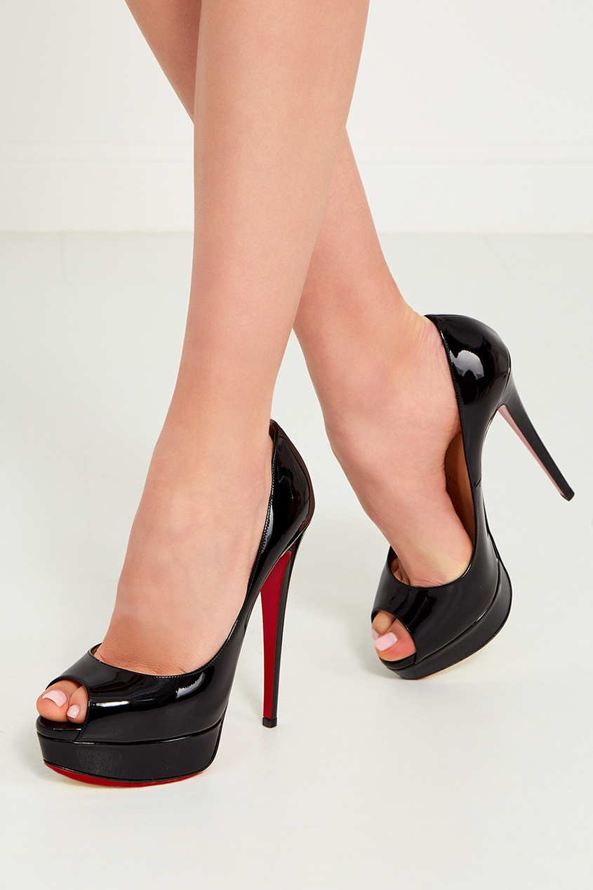 купить Christian Louboutin Черные лакированные туфли Lady Peep 150 дешево