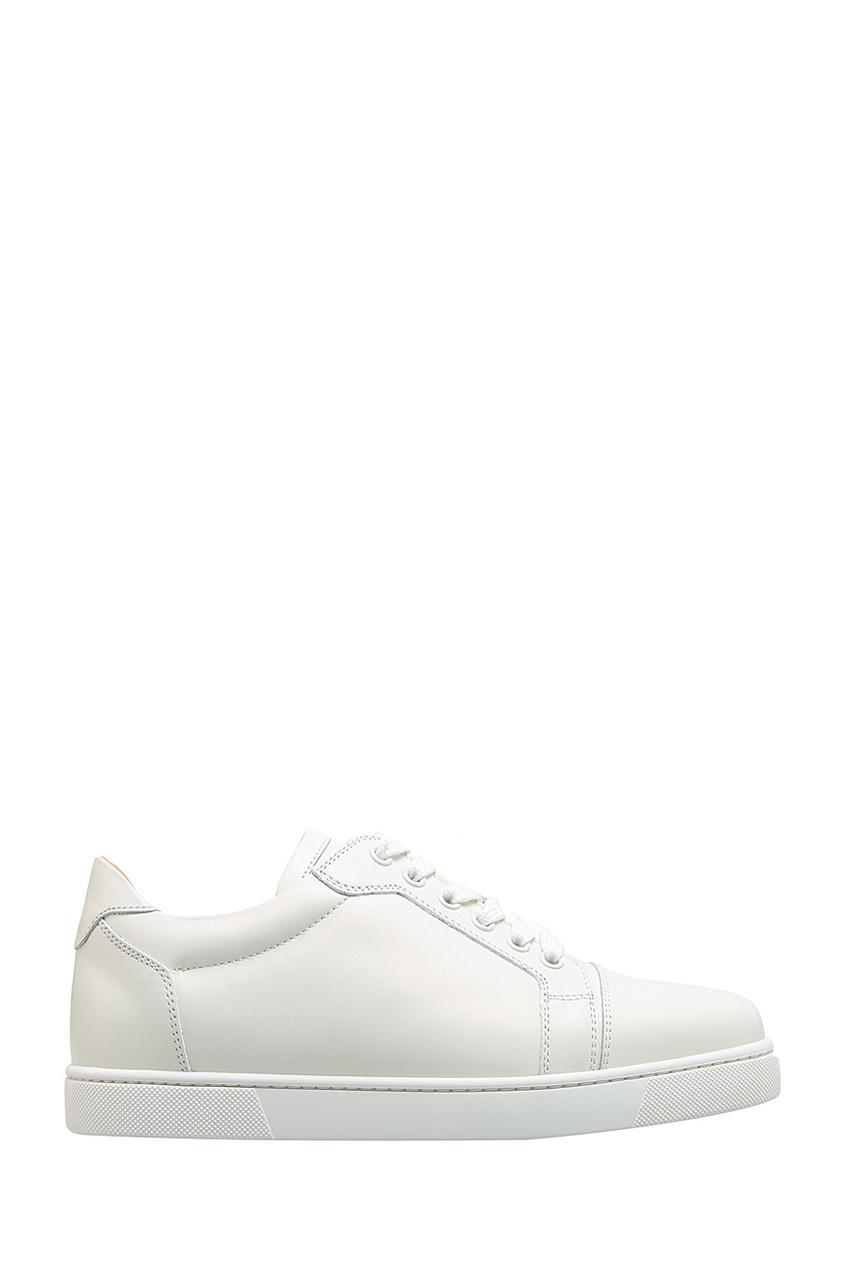 Christian Louboutin Белые кожаные кроссовки Vieira Flat