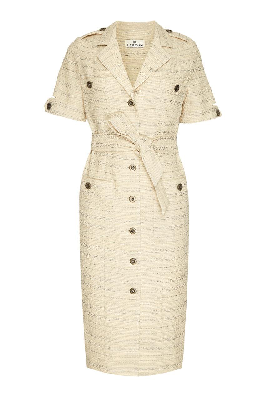 LAROOM Жаккардовое платье в клетку laroom жакет из хлопкового жаккарда