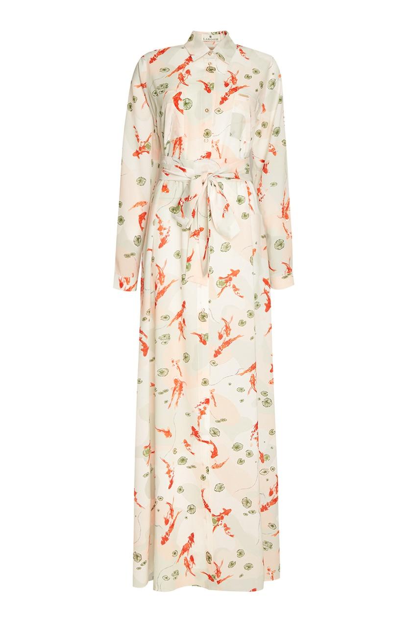 Длинное платье-рубашка с поясом