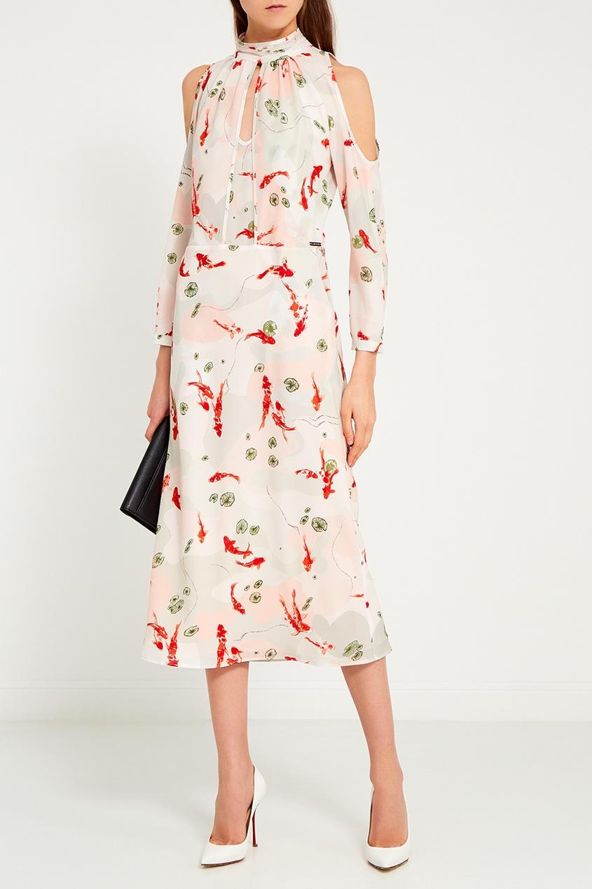 LAROOM Платье с вырезами на плечах laroom однотонное платье