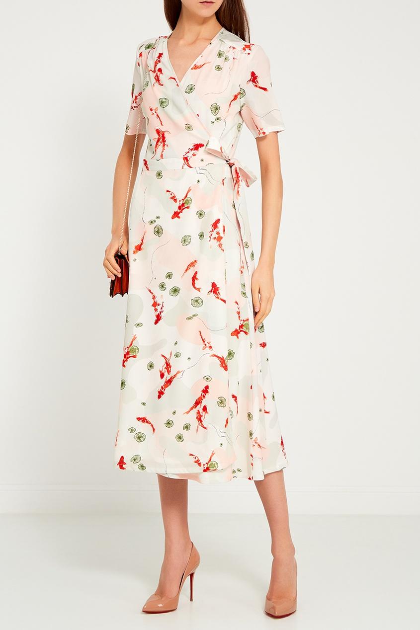 LAROOM Платье-миди с принтом laroom черное платье с запахом