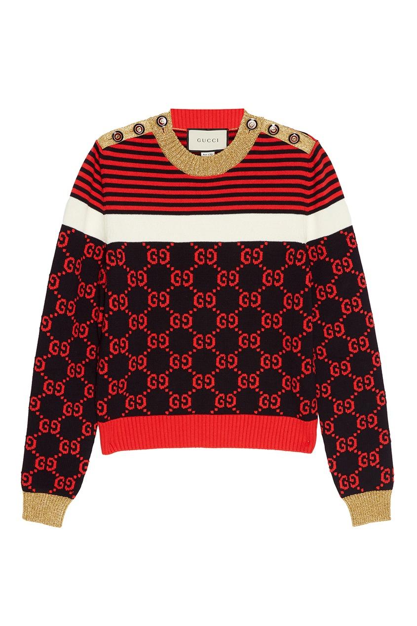 Хлопковый джемпер с монограммами от Gucci