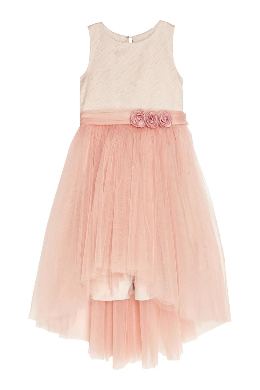 Розовое платье с драпированным подолом