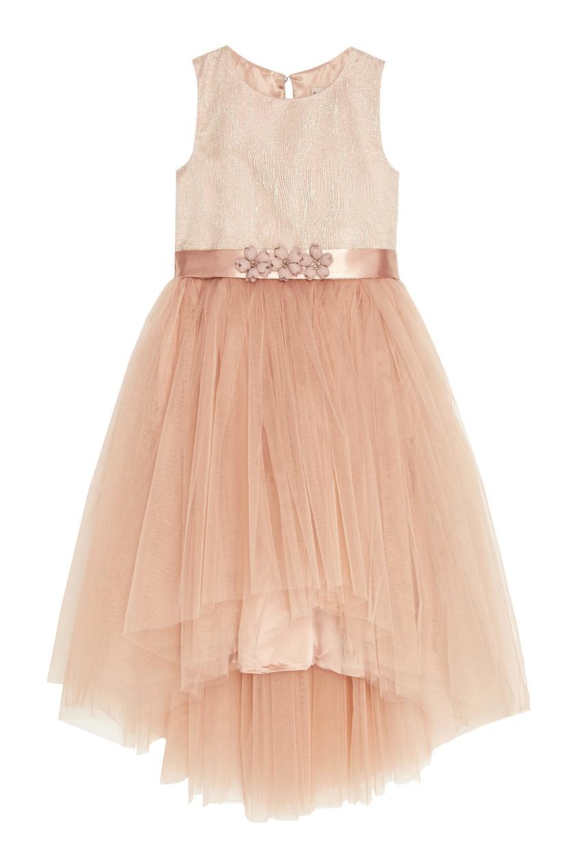 Бежевое платье с драпированным подолом