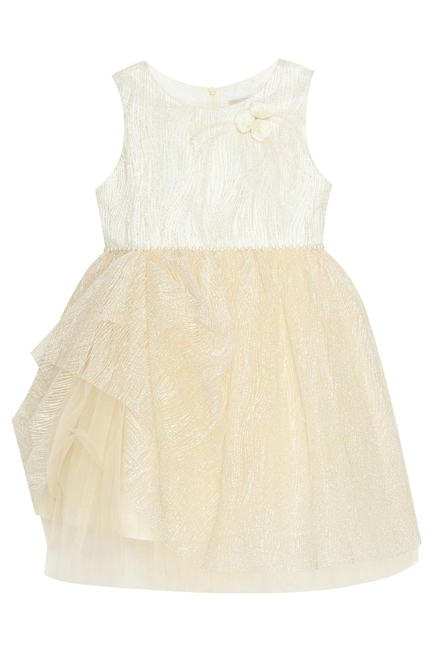 Кремовое платье с люрексом