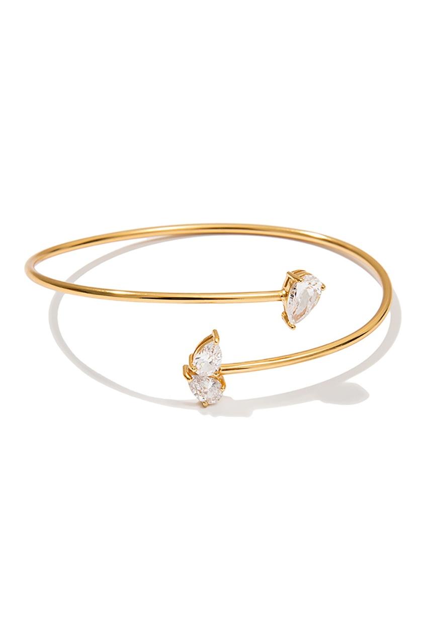 Exclaim Золотистый серебряный браслет с кристаллами exclaim серебряный браслет с кристаллами