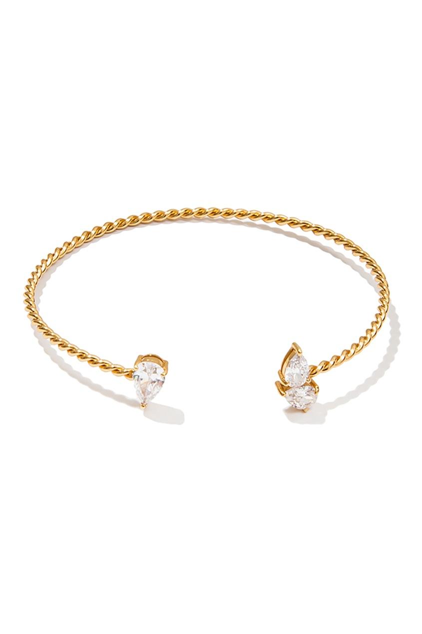 Exclaim Золотистый серебряный браслет с кристаллами exclaim тонкий браслет с кристаллами